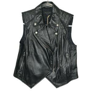 NWT rag & bone Lamb Leather Moto Jacket Vest 6